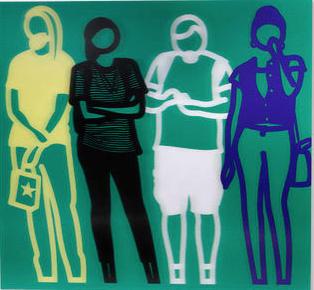 Yellow Black White Blue (Standing People) by Julian Opie