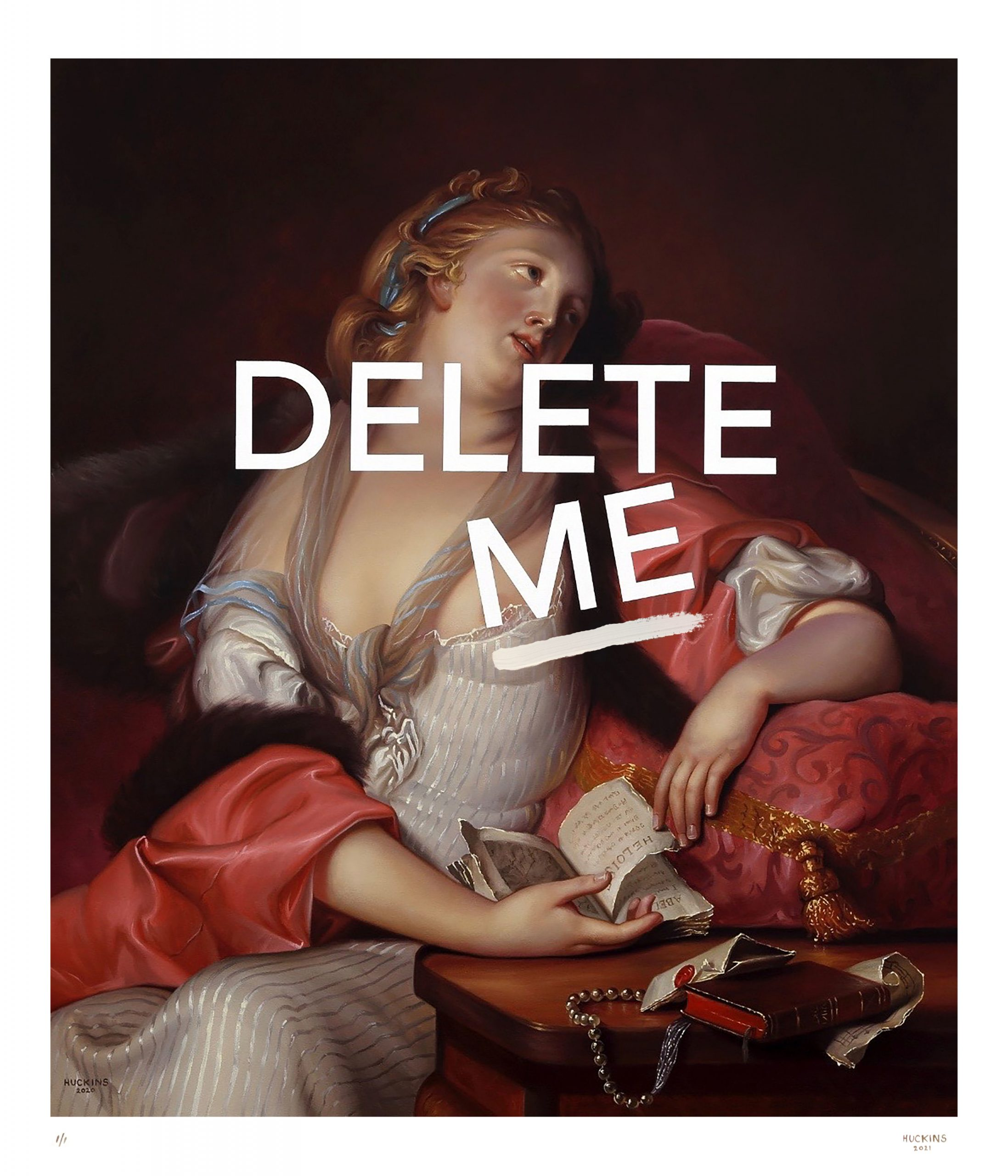 Lady Reading Letters: Delete Me (Hand Embellished) by Shawn Huckins
