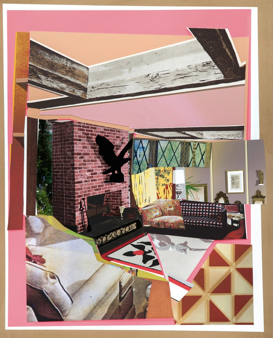 Interior: Fireplace With Blackbird by Mickalene Thomas