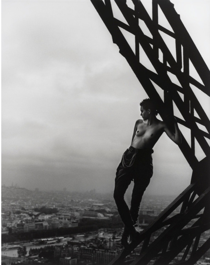 Mathilde on the Eiffel Tower by Peter Lindbergh