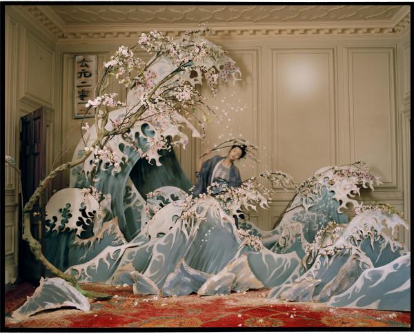 Xiao Wen Ju with Hokusai's Great Wave of Kanagawa, Eglingham, Northumberland by Tim Walker